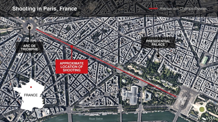 Map of Champs Elysees in Paris, France where shooting took place on April 20, 2017.