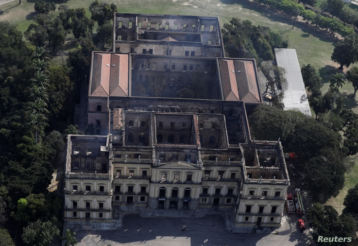 An aerial view of the National Museum of Brazil after a fire burnt it in Rio de Janeiro, Brazil, Sept. 3, 2018.