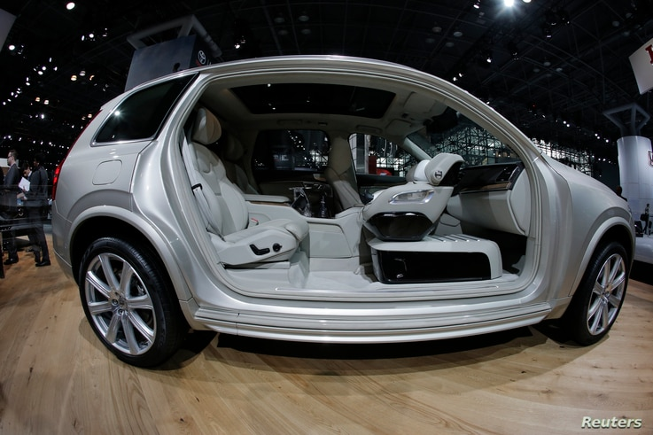 The interior of the 2017 Volvo XC90 T6 is seen during the media preview of the 2016 New York International Auto Show in Manhattan, New York, March 24, 2016.
