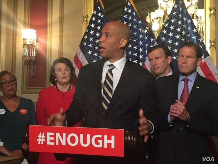 Democratic Sen. Cory Booker of New Jersey calls for gun control legislation in the wake of the mass shooting in an Orlando LGBT nightclub earlier this week during a news conference on Capitol Hill in Washington, June 16, 2016.