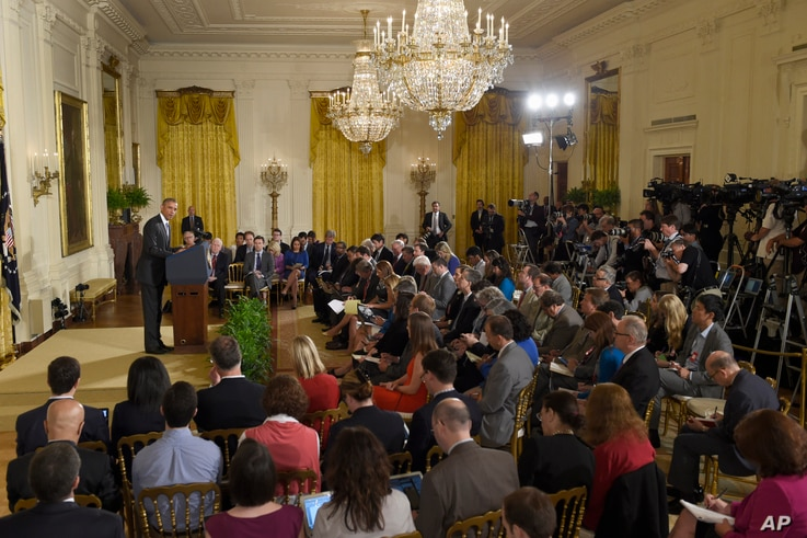 President Barack Obama makes opening remarks during news conference in the East Room of the White House, Washington, July 15, 2015.
