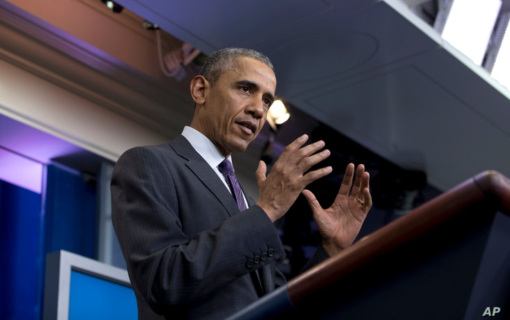 President Barack Obama speaks during a news conference with college students in the Brady Press Briefing Room in Washington, April 28, 2016.