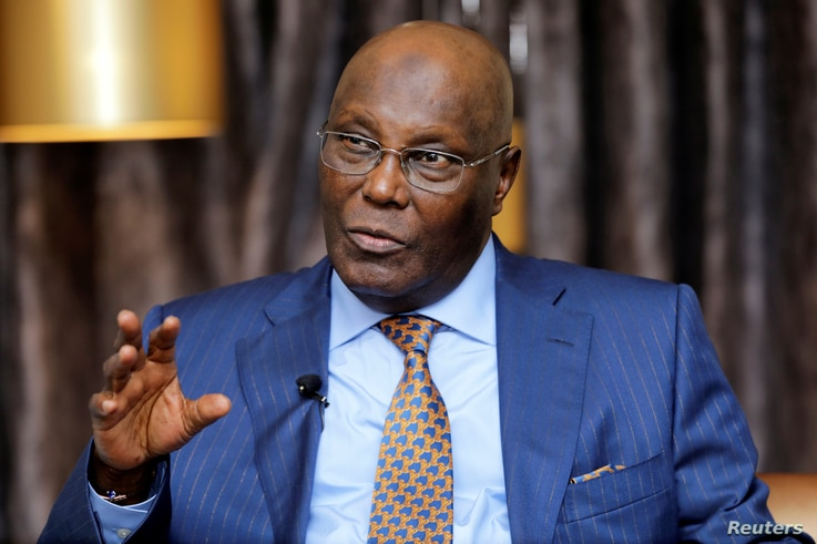 FILE - Nigeria's main opposition party presidential candidate Atiku Abubakar speaks during an interview with Reuters in Lagos, Nigeria, Jan. 16, 2019.