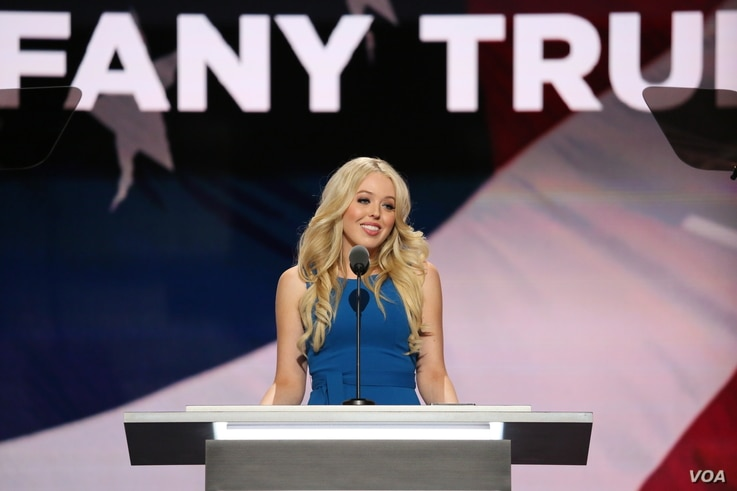 Tiffany Trump delivers a speech at the Republican National Convention in Cleveland, Ohio, July 19, 2016. (Photo: Ali Shaker / VOA )