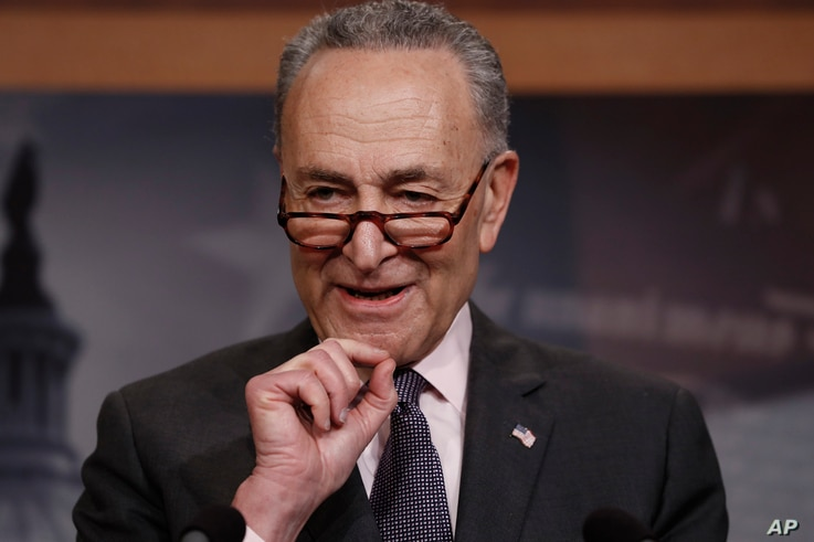 Senate Minority Leader Chuck Schumer, D-N.Y., introduces a gun plan supported by the Democratic Caucus, during a news conference at the Capitol in Washington, March 1, 2018.