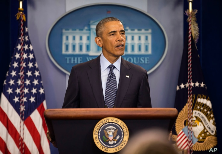 President Barack Obama speaks about the massacre at an Orlando gay nightclub during a news conference at the White House in Washington, June 12, 2016.