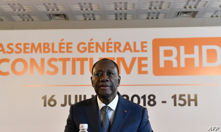 Ivory Coast President Alassane Ouattara and new president of the Rally of Houphouetists for Democracy and Peace (RHDP) party speaks at the launch of this movement in Abidjan two years from the next presidential election, July 16, 2018.