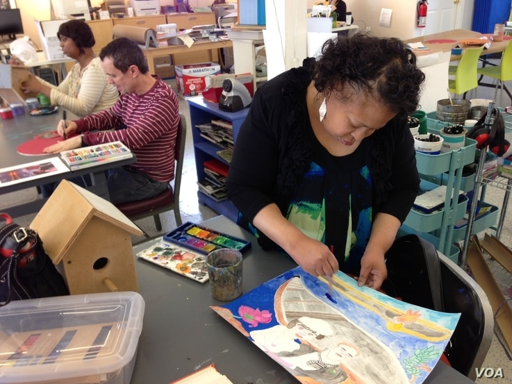 Visual artist Vanessa Monroe at Art Enables, a non-profit gallery and studio in Washington, D.C..