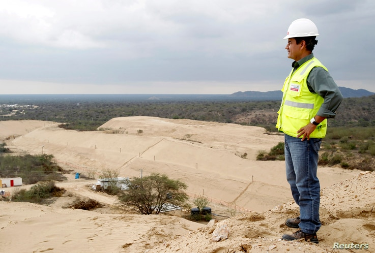 Giovanni Palacios, director and lead engineer of the Olmos Irrigation Project, watches a construction area of the project in Peru's northwestern region of Lambayeque, March 15, 2013.