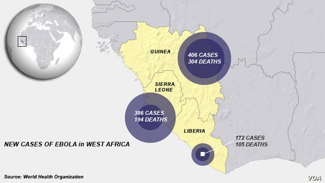 New cases of Ebola in West Africa