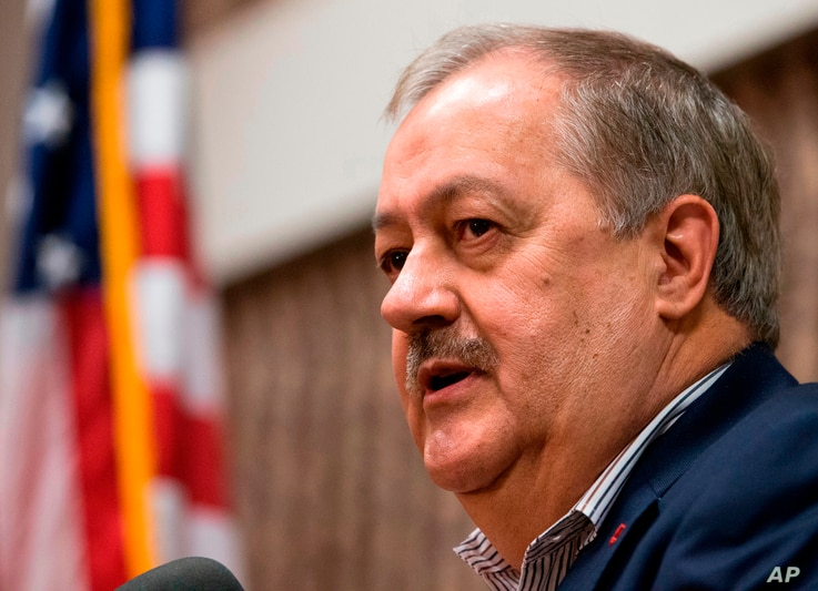 FILE - In this Jan. 18, 2018, file photo, former Massey CEO and West Virginia Republican Senatorial candidate, Don Blankenship, speaks during a town hall to kick off his campaign in Logan, W.Va.