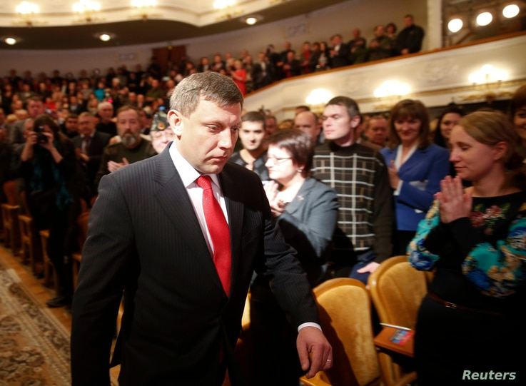 Separatist leader Alexander Zakharchenko arrives for the inauguration ceremony at a theatre in Donetsk, eastern Ukraine, November 4, 2014. The pro-Russian separatist leader was sworn in on Tuesday as the head of the self-proclaimed 'people's republic...
