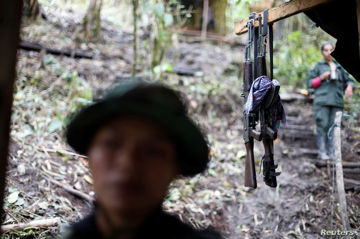 Weapons are seen at a camp of the 51st Front of the Revolutionary Armed Forces of Colombia (FARC) in Cordillera Oriental, Colombia, Aug. 16, 2016.