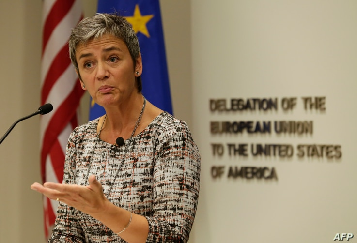 European Union Commissioner for Competition Margrethe Vestager speaks during a news conference at the EU Delegation in Washington, Sept. 19, 2016.