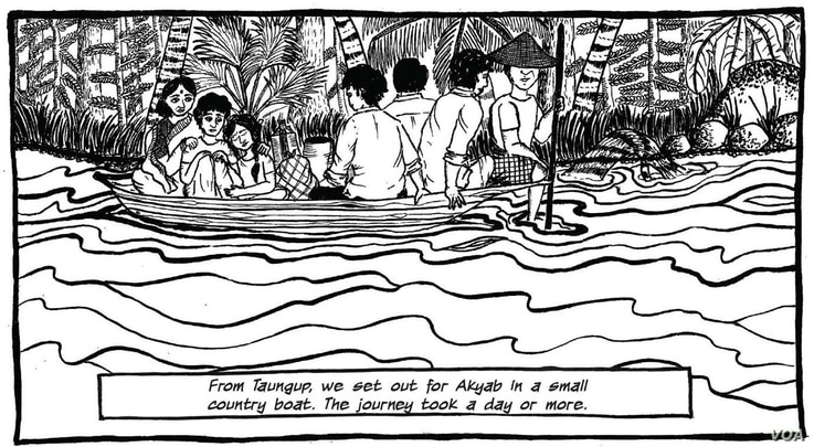 "An illustration shows a scene from ""Rangoon to Vadakara: A Survivor's Tale"" by A.P. Payal. It tells the story of a family risking their lives to escape Myanmar in 1942. Image - Courtesy of Yoda Press."