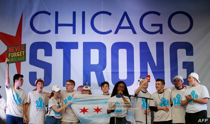 """Parkland —Marjory Stoneman Douglas High School shooting survivors take part in the """"End of School Year Peace March and Rally"""" in Chicago, June 15, 2018"""