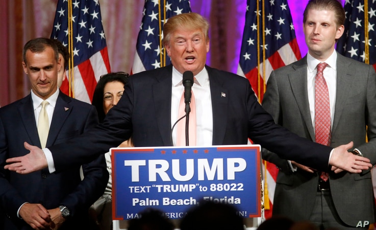 Republican presidential candidate Donald Trump speaks to supporters at his primary election night event at his Mar-a-Lago Club in Palm Beach, Fla., March 15, 2016.