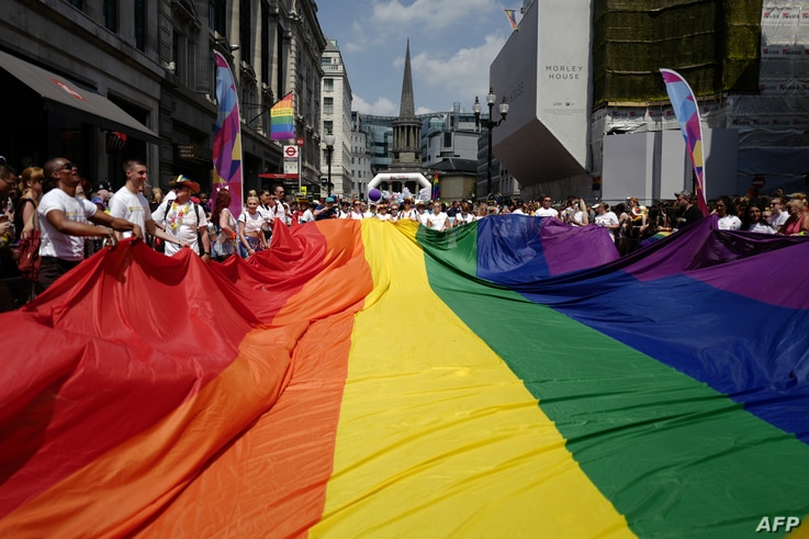 Members of the Lesbian, Gay, Bisexual and Transgender (LGBT) community take part in the annual Pride Parade in London