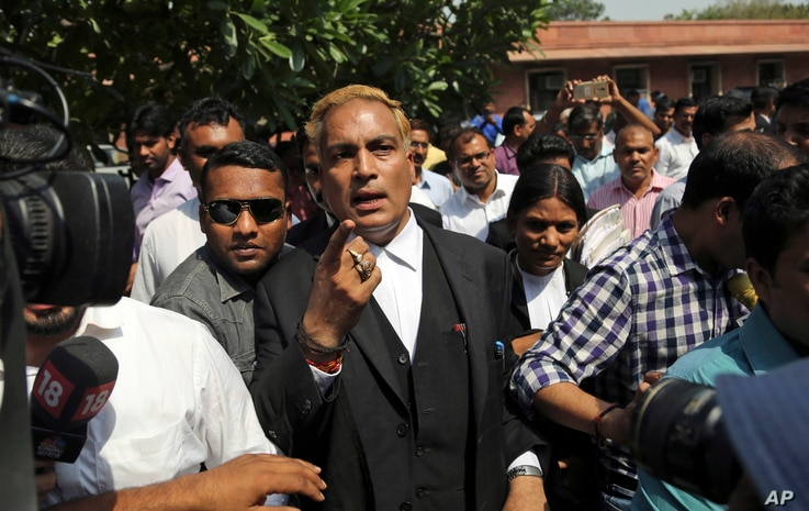 Defense attorney A. P. Singh, representing three of the four men convicted for the 2012 fatal gang rape on a moving bus, arrives to brief the media after the Supreme court verdict, in New Delhi, India, May 5, 2017.