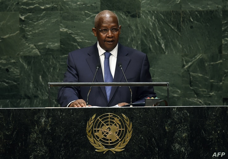 Foreign minister Sam Kutesa of Uganda speaks during the 69th Session of the UN General Assembly at the United Nations in New York on Sept. 24, 2014.