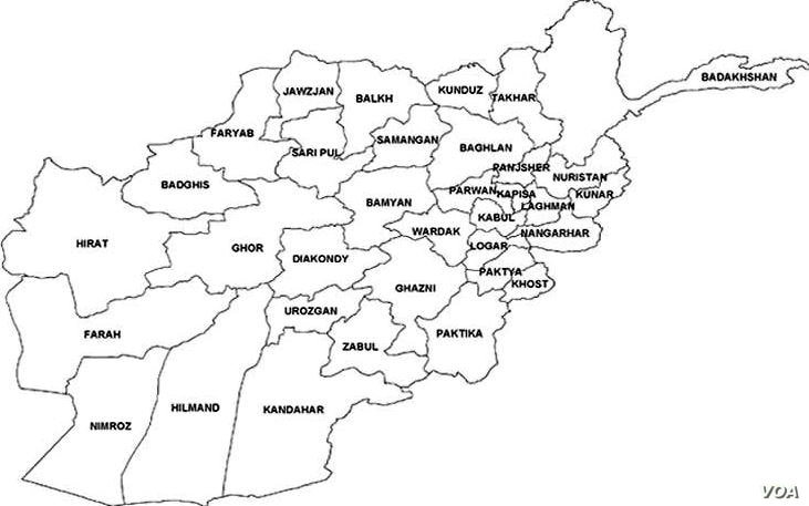 Map of Afghanistan provinces.