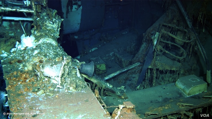 An image shot from a remotely operated underwater vehicle shows a spare parts box from USS Indianapolis on the floor of the Pacific Ocean in more than 16,000  feet of water.