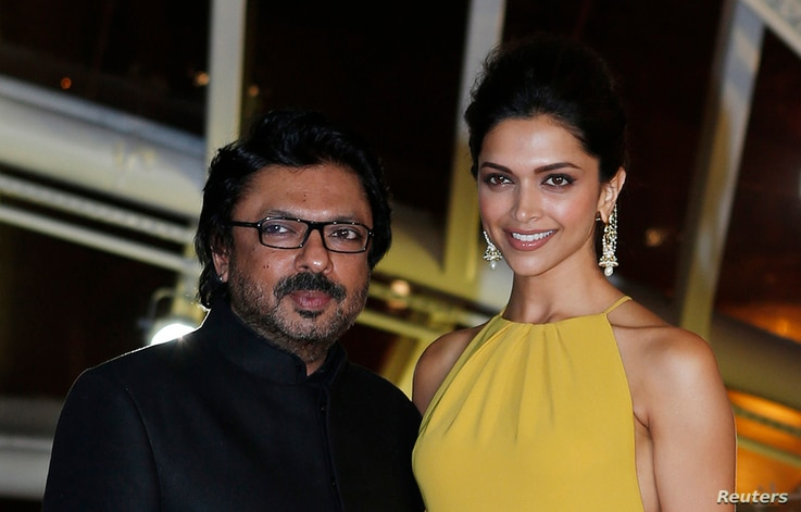 FILE - Indian actress Deepika Padukone and Indian director Sanjay Leela Bhansali attend the opening of the 13th annual Marrakech International Film Festival in Marrakech, Nov. 29, 2013.