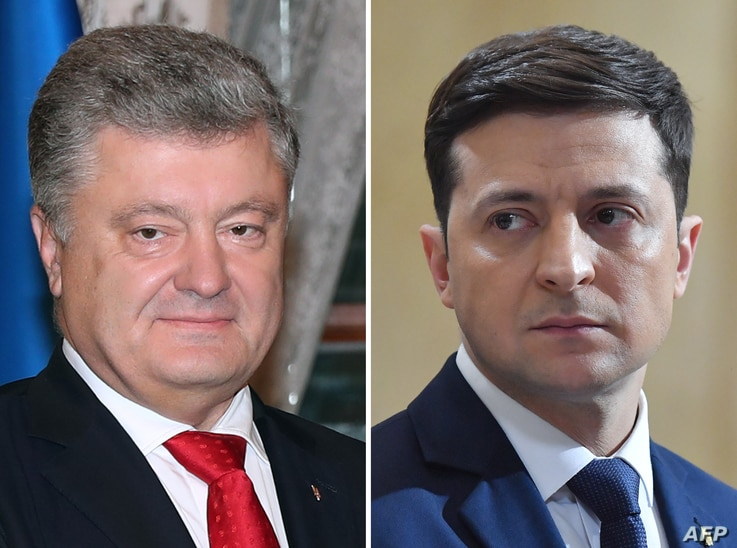 FILE - This combination of file pictures shows presidential candidates, Ukrainian President Petro Poroshenko (L), taken Nov. 3, 2018, and Ukrainian comic actor and showman Volodymyr Zelenskiy, taken March 6, 2019.