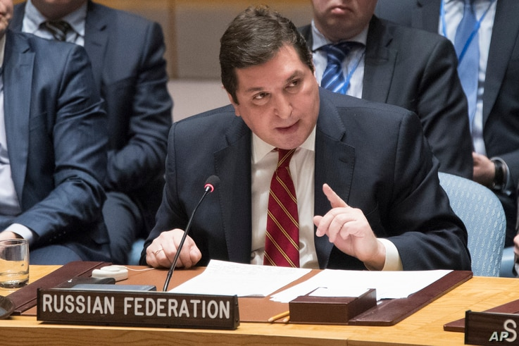 Russia's deputy U.N. ambassador Vladimir Safronkov speaks during a Security Council meeting on the situation in Syria, April 7, 2017, at United Nations headquarters.