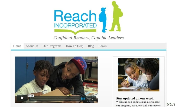 A screen capture of the home page of Reach Inc.