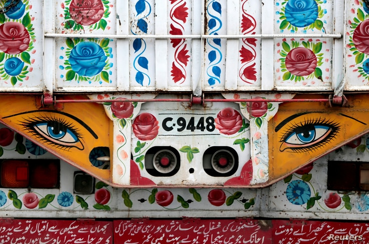 Artwork is seen on a decorated truck in Taxila, Pakistan, May 2, 2017.