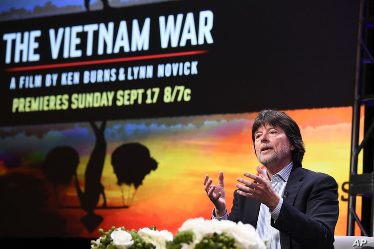 """Ken Burns participates in the """"The Vietnam War"""" panel during the PBS portion of the 2017 Summer TCA's at the Beverly Hilton Hotel in Beverly Hills, Calif., July 30, 2017."""