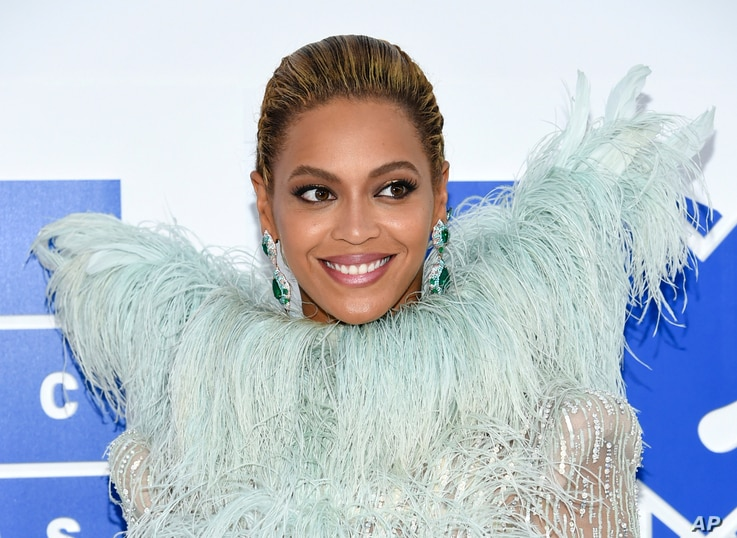 FILE - Beyonce Knowles arrives at the MTV Video Music Awards at Madison Square Garden, in New York, Aug. 28, 2016.