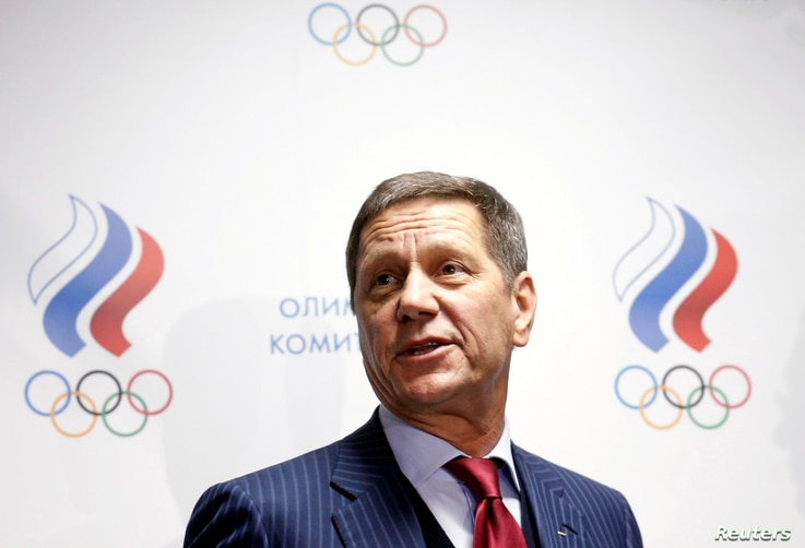 Russian Olympic Committee head Alexander Zhukov leaves a meeting about the Russian athletics team and federation held by the executive committee of the Russian Olympic Committee in Moscow, Russia, Nov. 18, 2015.