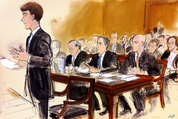 In this courtroom sketch, President Donald Trump's personal attorney Michael Cohen, seated (2nd-R) at table, is flanked by his own attorneys Todd Harrison (R), and Stephen Ryan, as they and porn star Stormy Daniels, in audience visible between Cohen ...