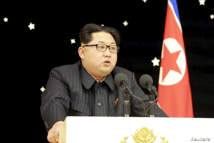 FILE - North Korean leader Kim Jong Un attends a banquet for contributors of the recent rocket launch, in this undated photo released by North Korea's Korean Central News Agency (KCNA) in Pyongyang on Feb. 15, 2016.