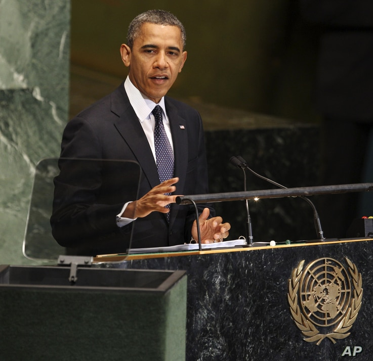 President Barack Obama speaks during the 67th session of the General Assembly at United Nations headquarters, Tuesday, Sept. 25, 2012.