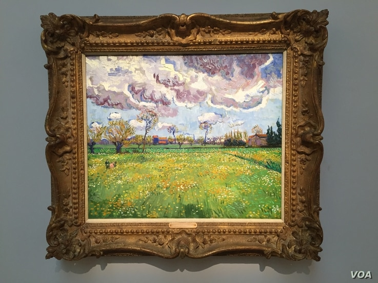 Vincent van Gogh's Paysage Sous Un Ciel Mouvementé at the Sotheby's auction, New York, Nov. 5, 2015. (M. Lamon/VOA)