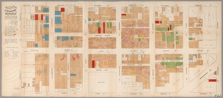 """This 1885 """"Official Map of Chinatown"""" in San Francisco, highlights gambling houses (pink), opium dens (yellow), Chinese prostitution (green) and Chinese places of worship (red). (From """"A History of America in 100 Maps"""")"""