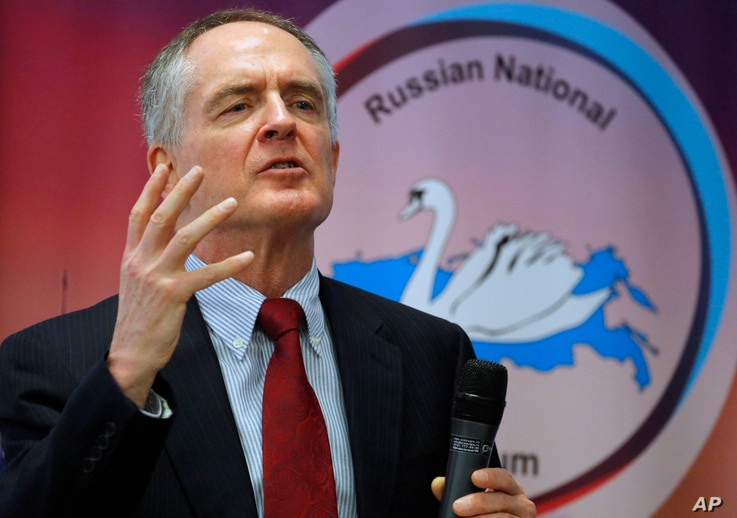 "FILE - U.S. writer Jared Taylor speaks during the International Russian Conservative Forum in St.Petersburg, Russia, March 22, 2015. Taylor, a Yale University-educated, self-described ""race realist, "" runs the New Century Foundation."