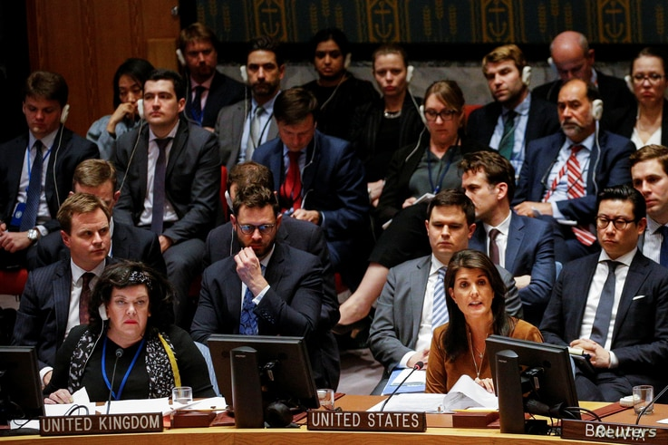 United States Ambassador to the United Nations Nikki Haley addresses the United Nations Security Council meeting on Syria at the U.N. headquarters in New York, April 9, 2018.