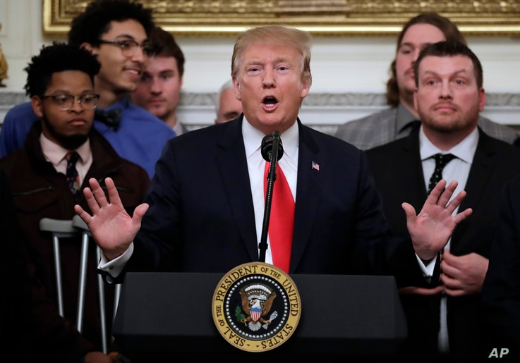 President Donald Trump speaks in the State Dining Room of the White House in Washington, March 4, 2019.