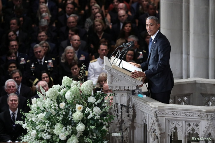 Former U.S. president Barack Obama speaks at a memorial service for the late Senator John McCain, at National Cathedral in Washington, Sept. 1, 2018.