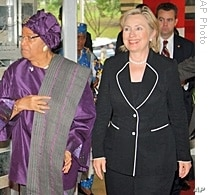 President Sirleaf with Secretary of State Hillary Clinton
