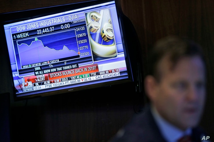 A TV displays financial information on the floor of the New York Stock Exchange in New York, Dec. 24, 2018.