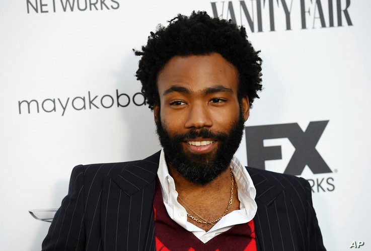 "Donald Glover, creator and star of the FX series ""Atlanta,"" poses at a private cocktail party to celebrate the FX network's Emmy nominations, Sept. 16, 2018, in Los Angeles."