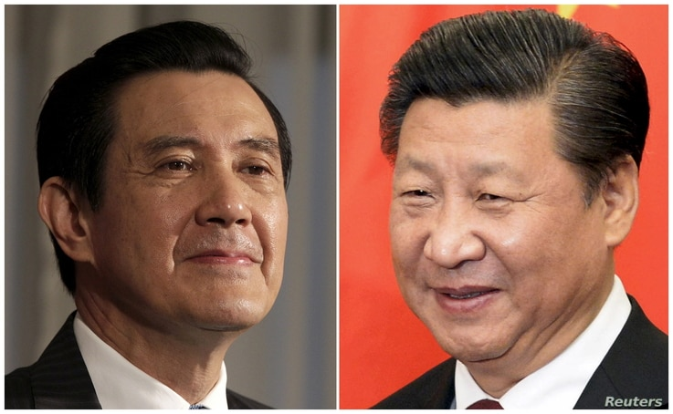 This combination of file photos shows Taiwan President Ma Ying-jeou, left, and Chinese President Xi Jinping.