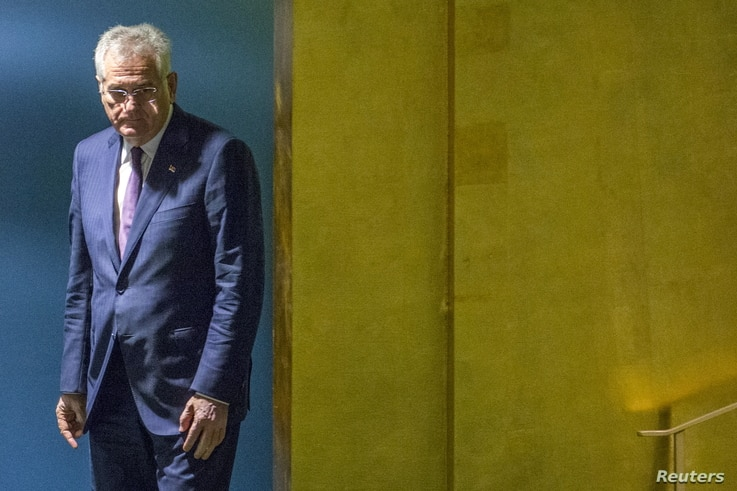 Serbia's President Tomislav Nikolic arrives to address attendees during the 70th session of the United Nations General Assembly at the U.N. Headquarters in New York, Sept. 30, 2015.
