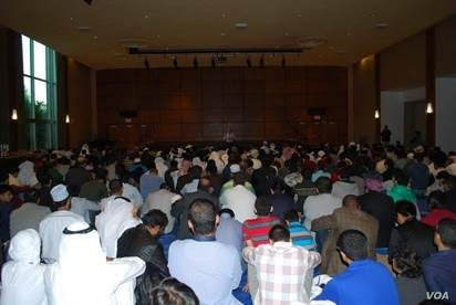 Muslim students in prayer at Penn State University in State College, Pennsylvania.