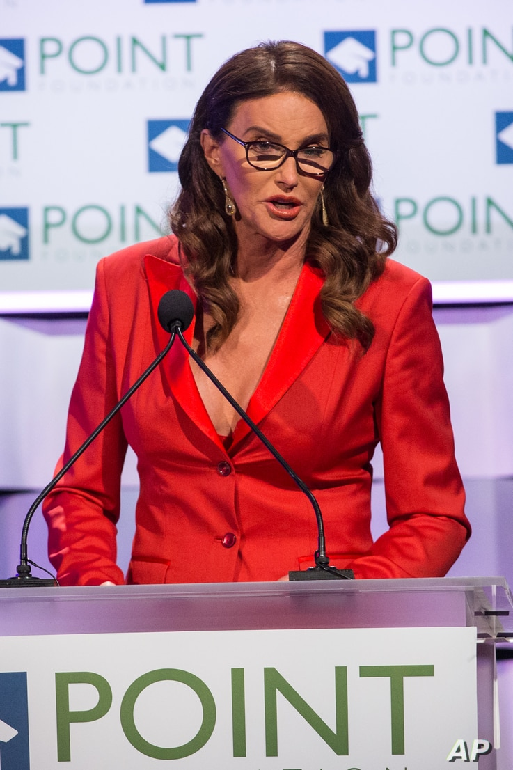 FILE - Caitlyn Jenner speaks on stage during the Voices on Point Gala at the Hyatt Regency Century City.